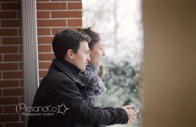 Séance couple sous la neige de Toulouse