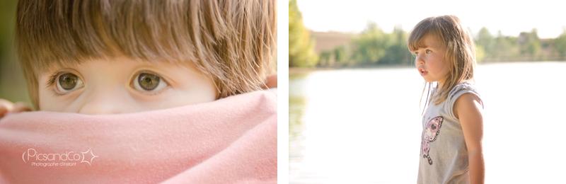 Promenade et portraits d'enfants au bord du lac
