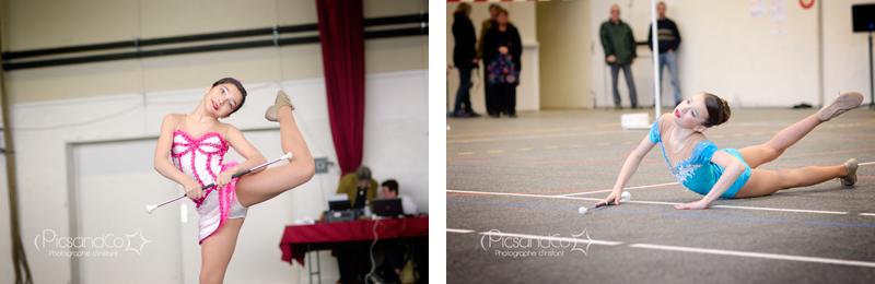 Compétition de twirling bâton - Les filles en plein passage devant le jury
