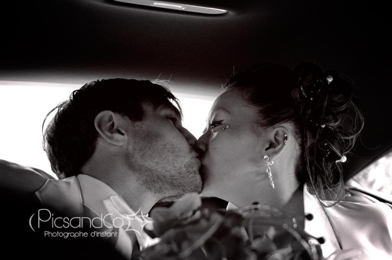 Le bisous des mariés après les cérémonies du Mariage