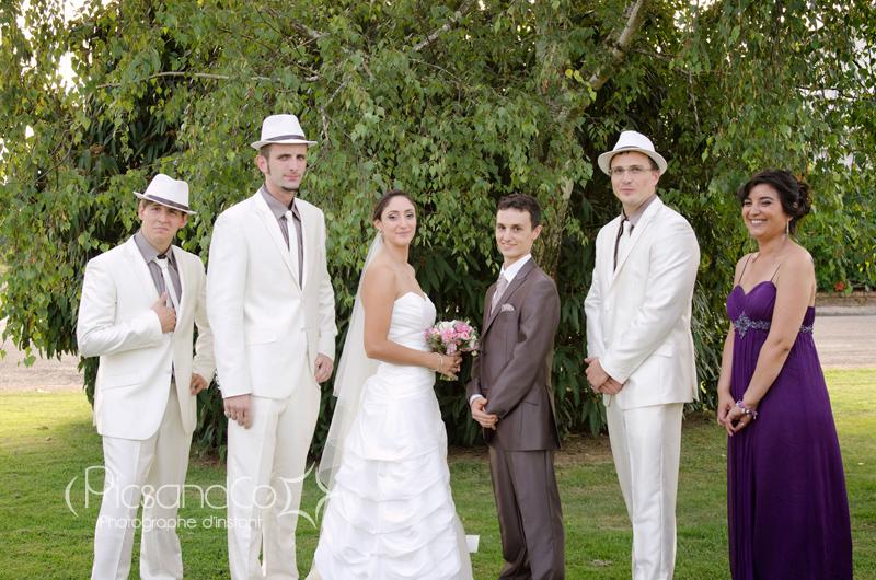 Photo mariage avec le couple et les témoins